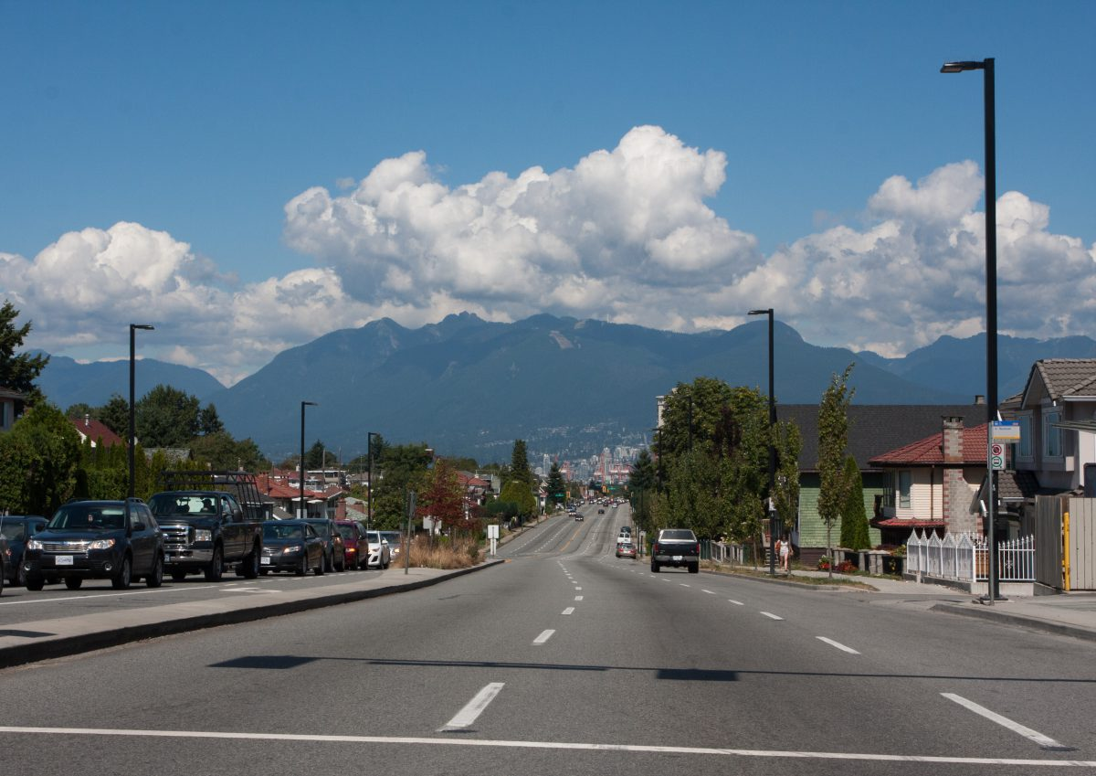 road, cloud, city, mountain