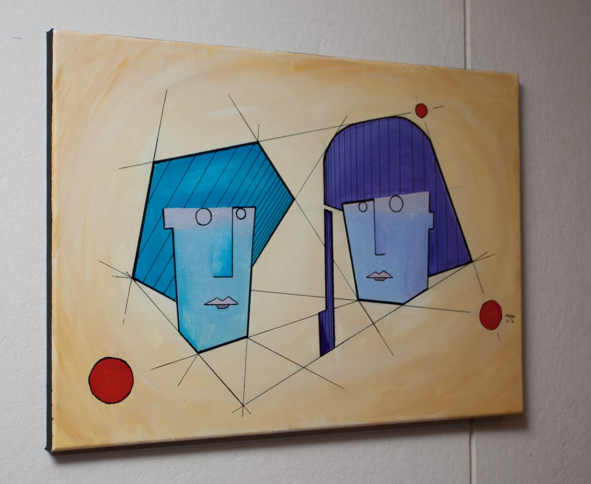 Couple - 50x35cm, acrylics & pen on canvas, ch3, canvas, acrylic, pen