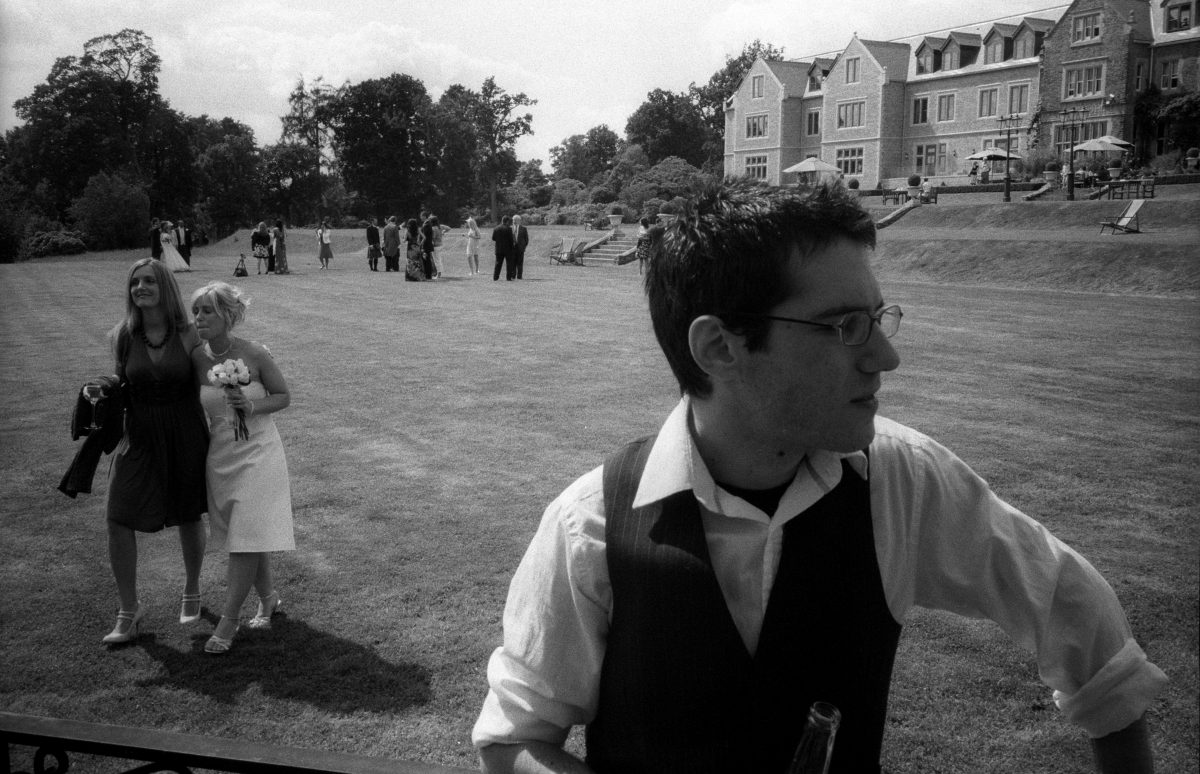 Evan at the wedding, male, female, wedding, bw