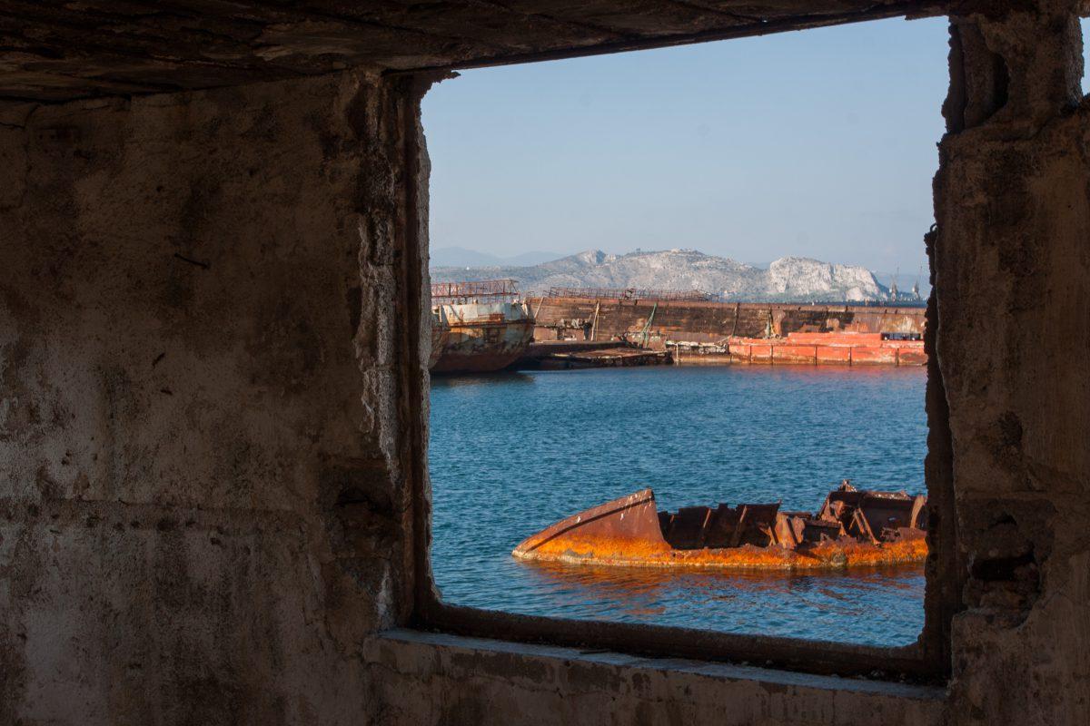 boat, sea, decay, window