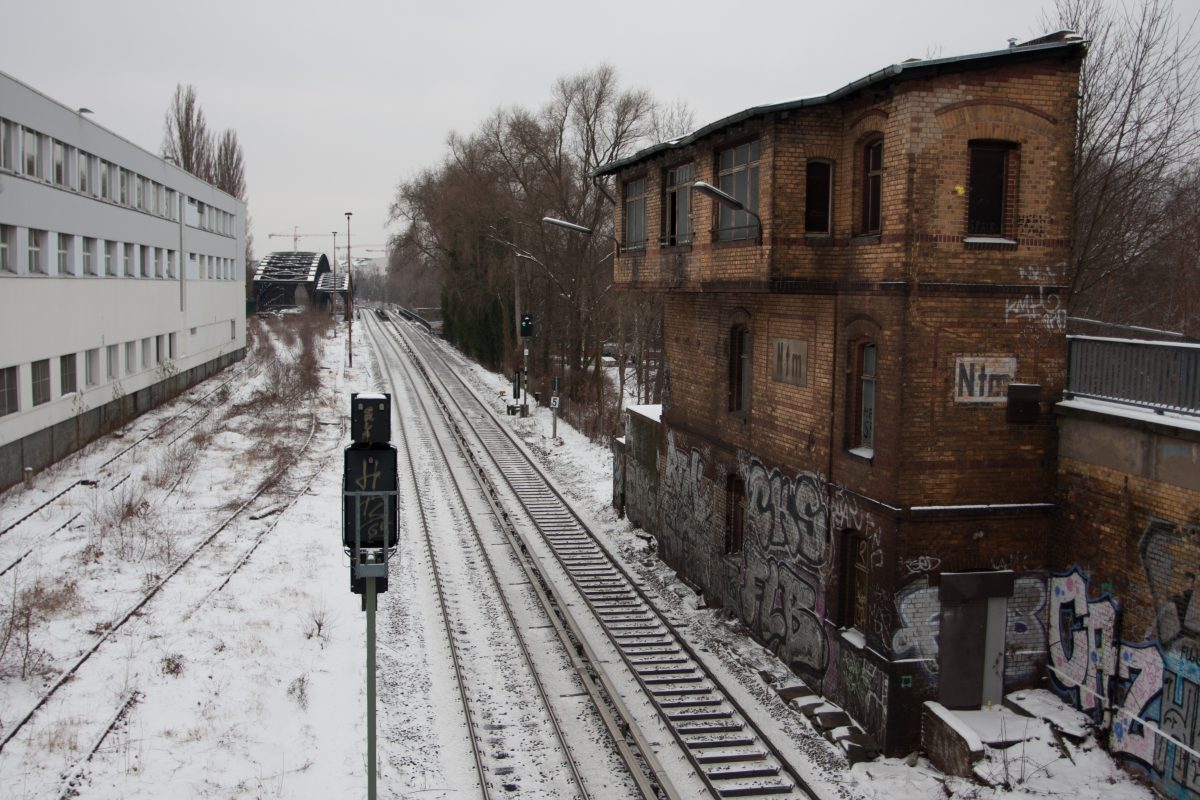 snow, city, train, track