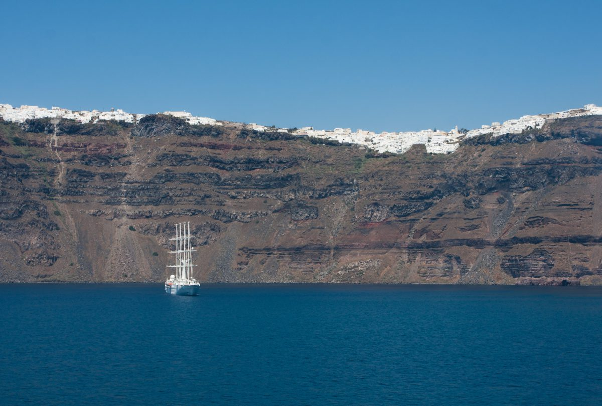 boat, sea, volcano, building, view