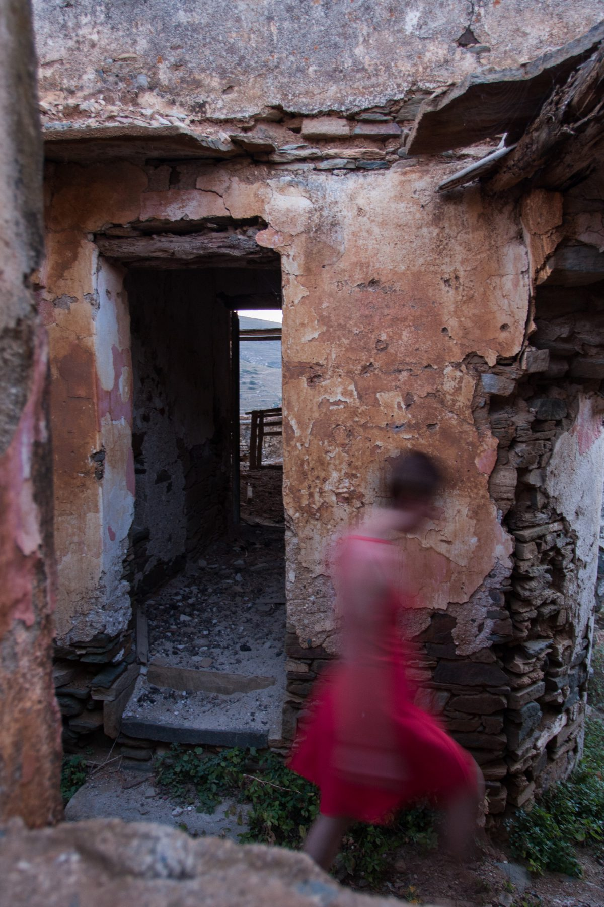 room, village, alley, female, dress, decay