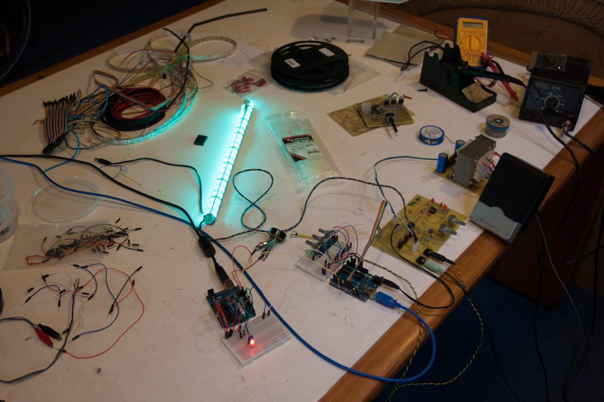 Adding the LEDs and arduino control, process, electronics
