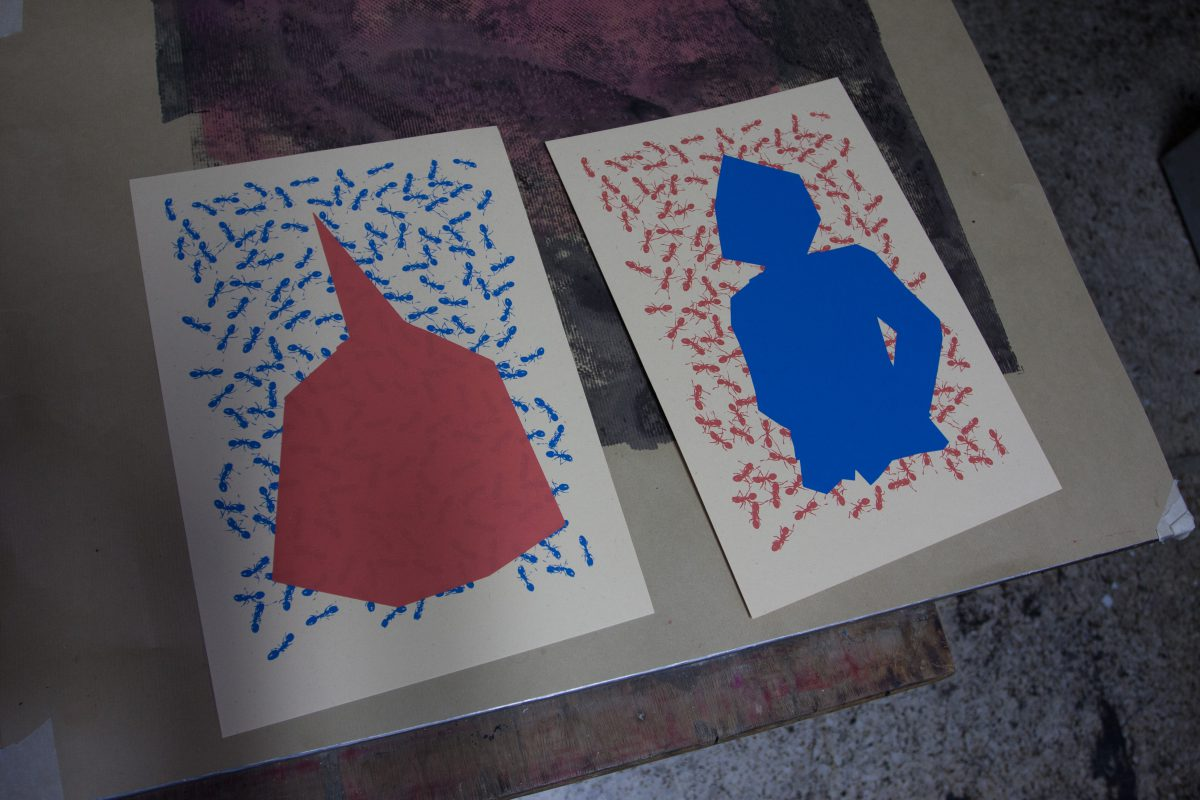 Two layers done, process, studio, silkscreen