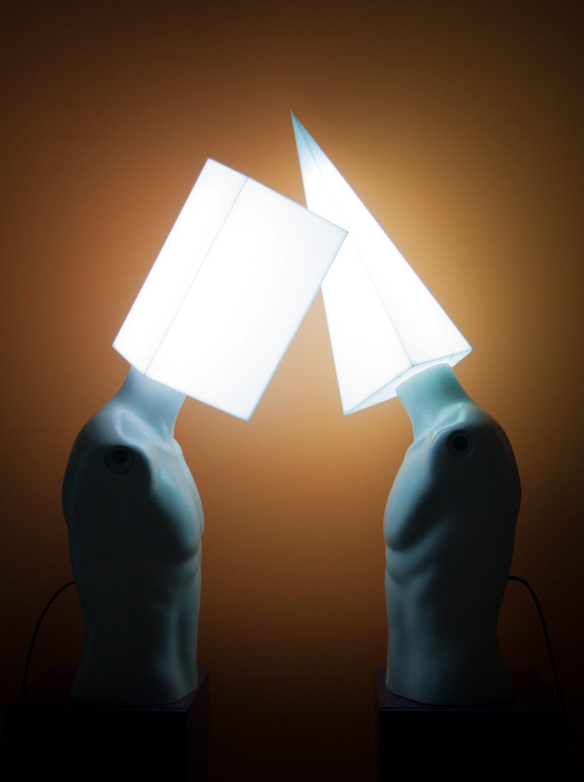 Debate - Light & sound installation - mixed media, electronics, programming (naked figures), mannequin, light, sculpture, ch3