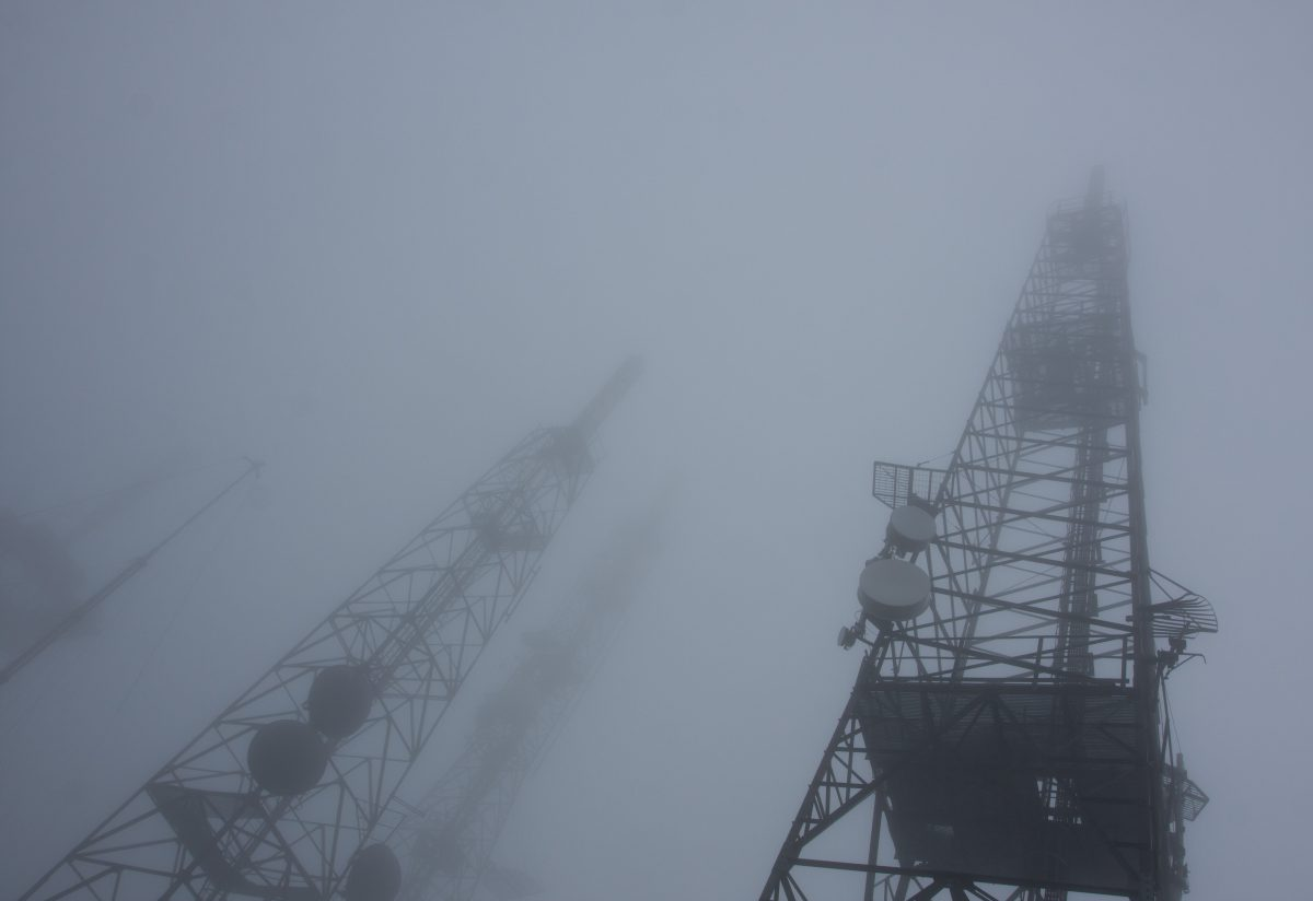 mountain, fog, antenna