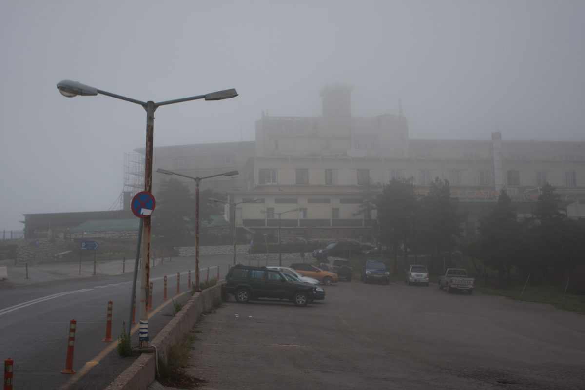 mountain, fog, building