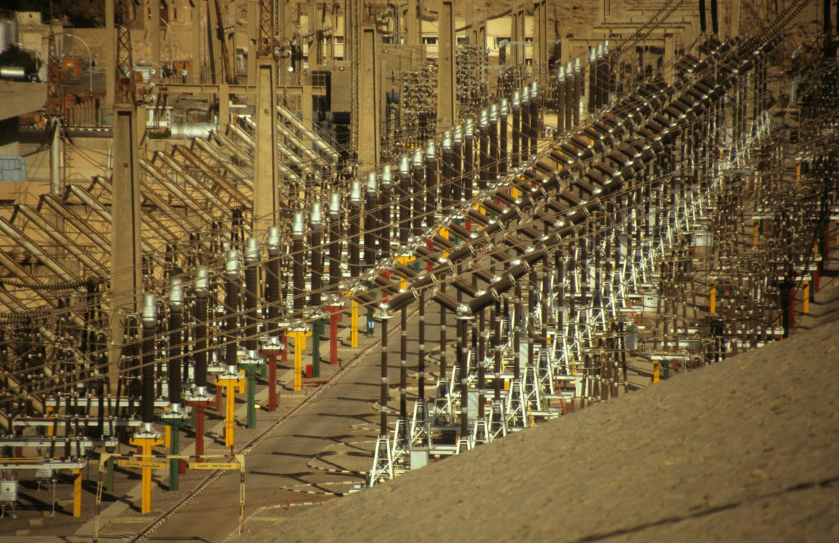Hydroelectric Power plant - Aswan Dam by the Nile, cable