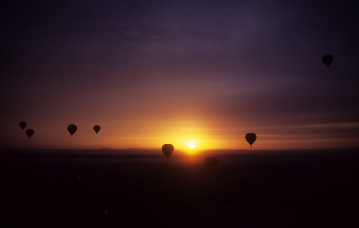 First sunlight, ballon, height, view, sunrise, contrast, color