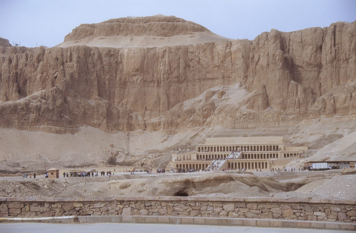 Mortuary Temple - Hatshepsut, mountain, landmark, sand