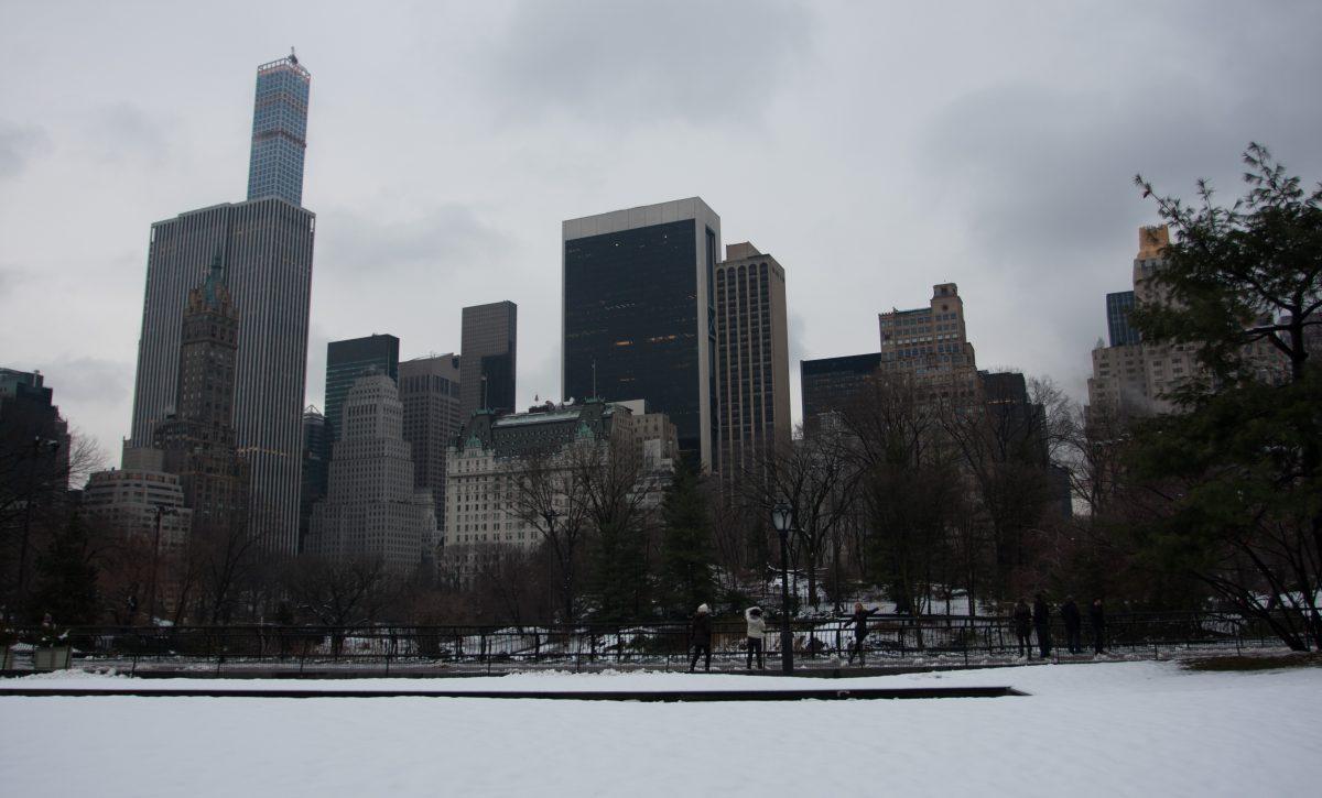 Central Park, building, snow, park