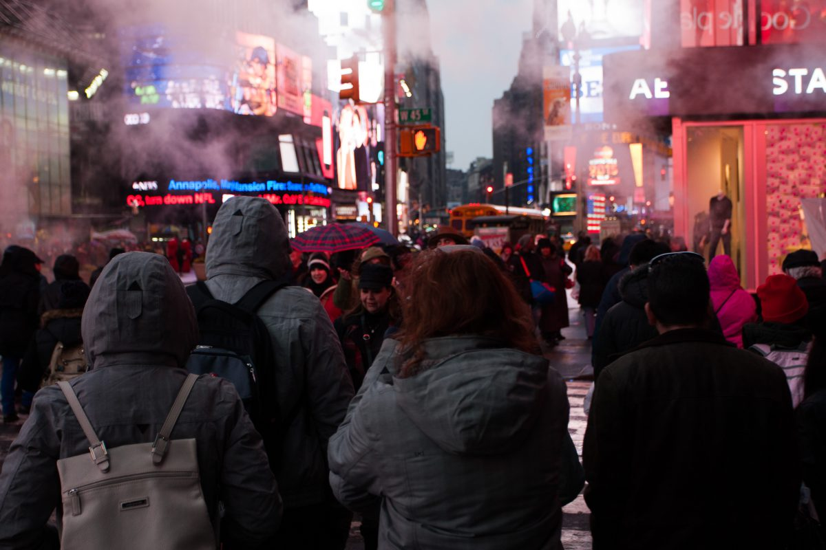 Times Square, fog, people, light, sign