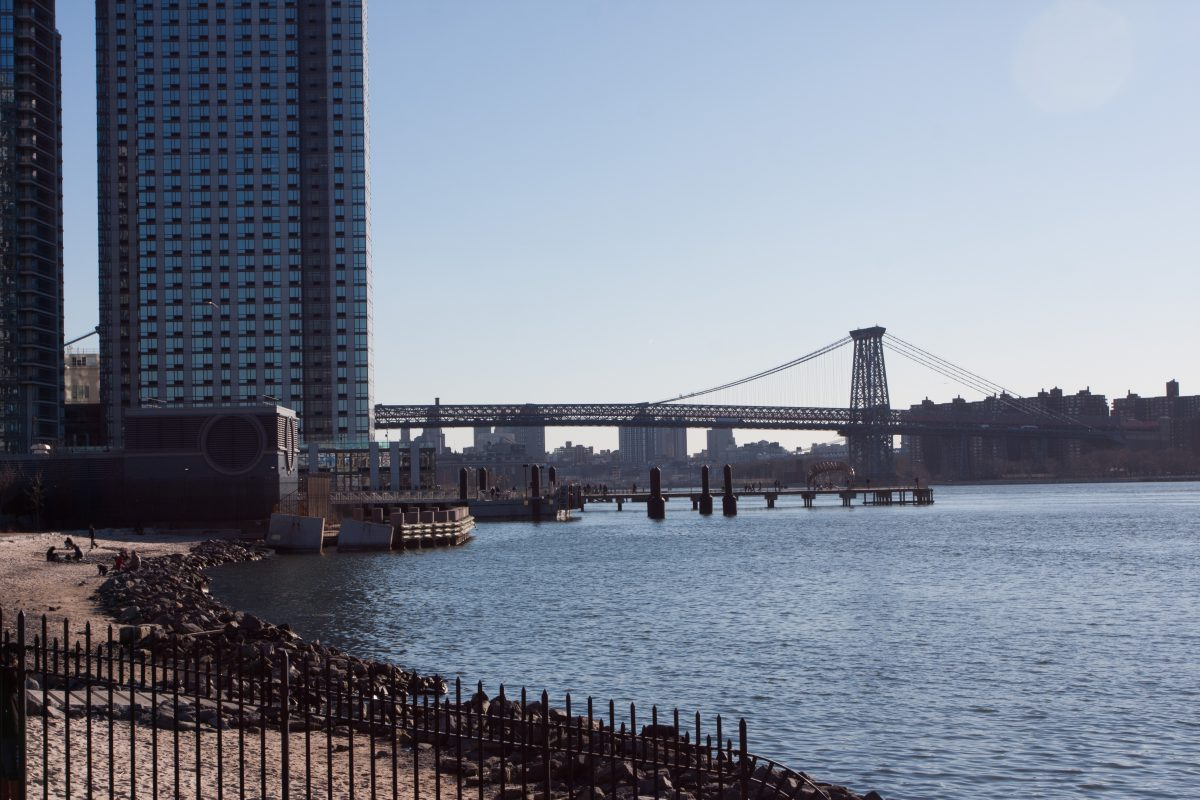 Williamsburg bridge, view, building, sea, skyline, bridge