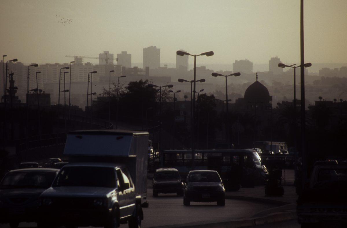 skyline, car, street