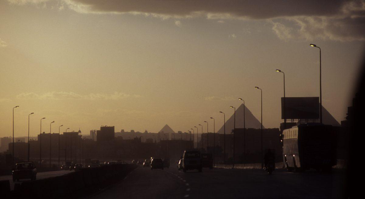 skyline, street, car