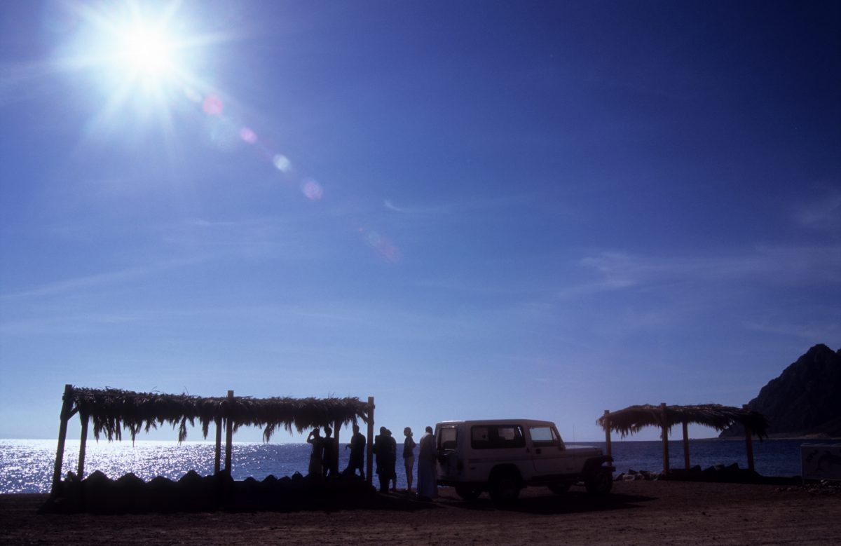 sun, beach, car, people