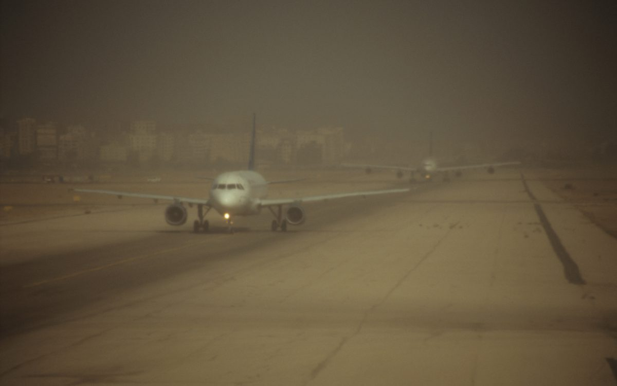 airport, plane, fog, flight