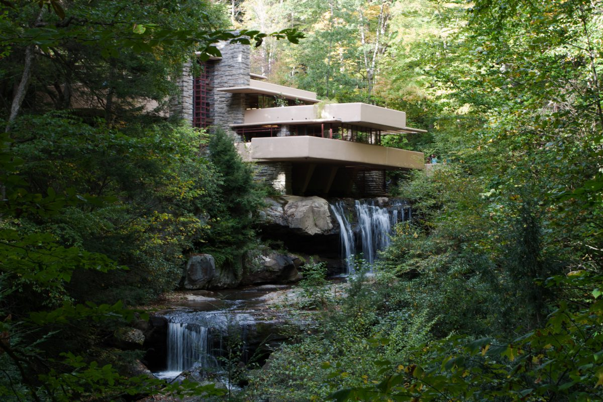 Waterfall House, building, architecture, tree, river, waterfall