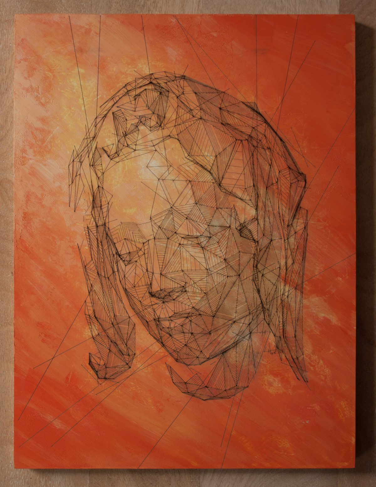 Pieta - 30x40cm laser cut, wooden panel, acrylics, laser, digital, acrylic, wood, ch3
