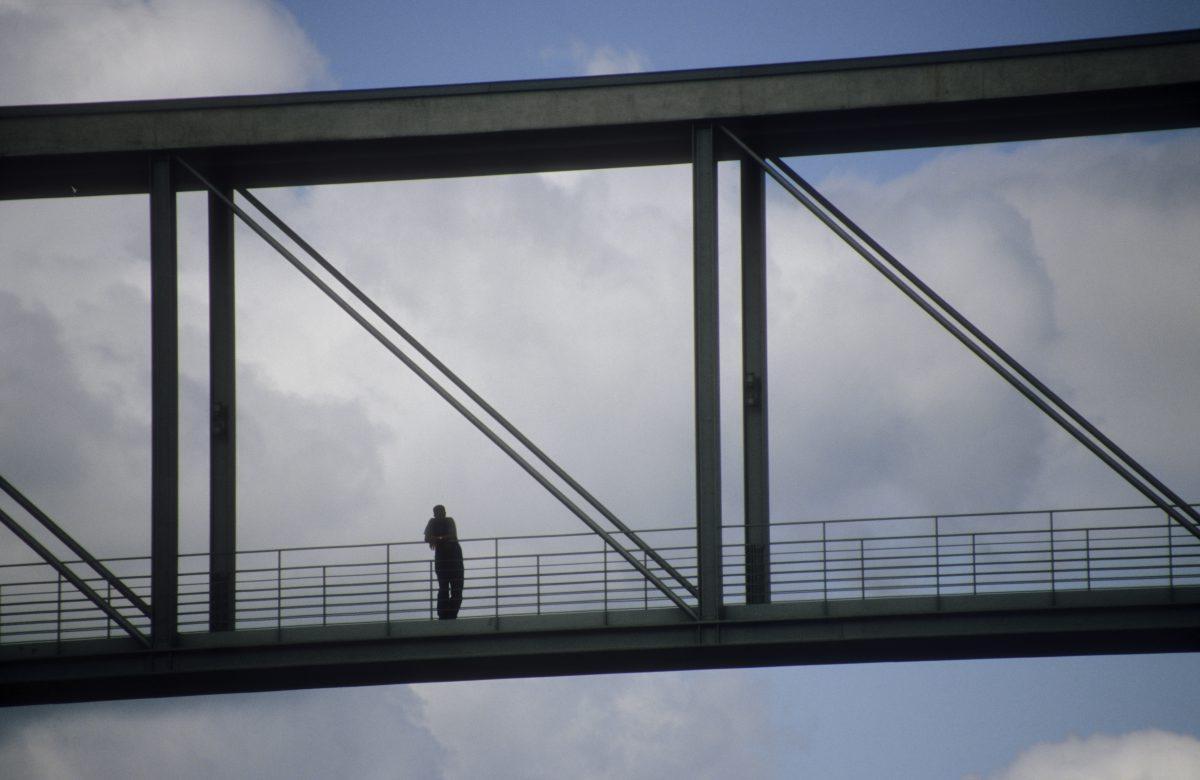 bridge, male, sky