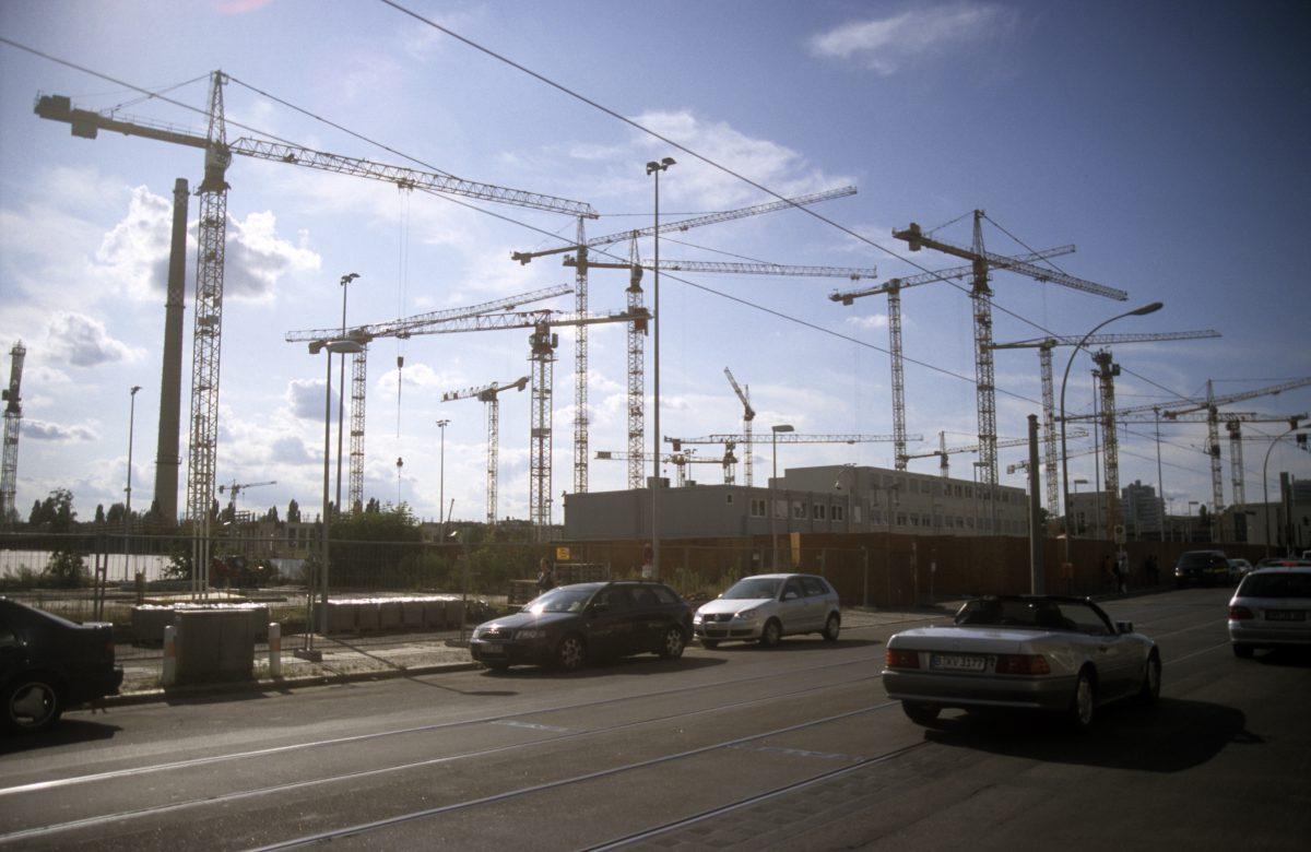 Cranes, crane, sky, street, car, construction