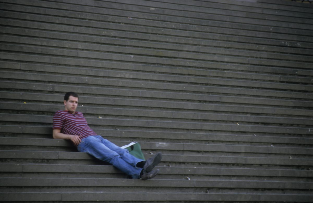 male, relax, stair
