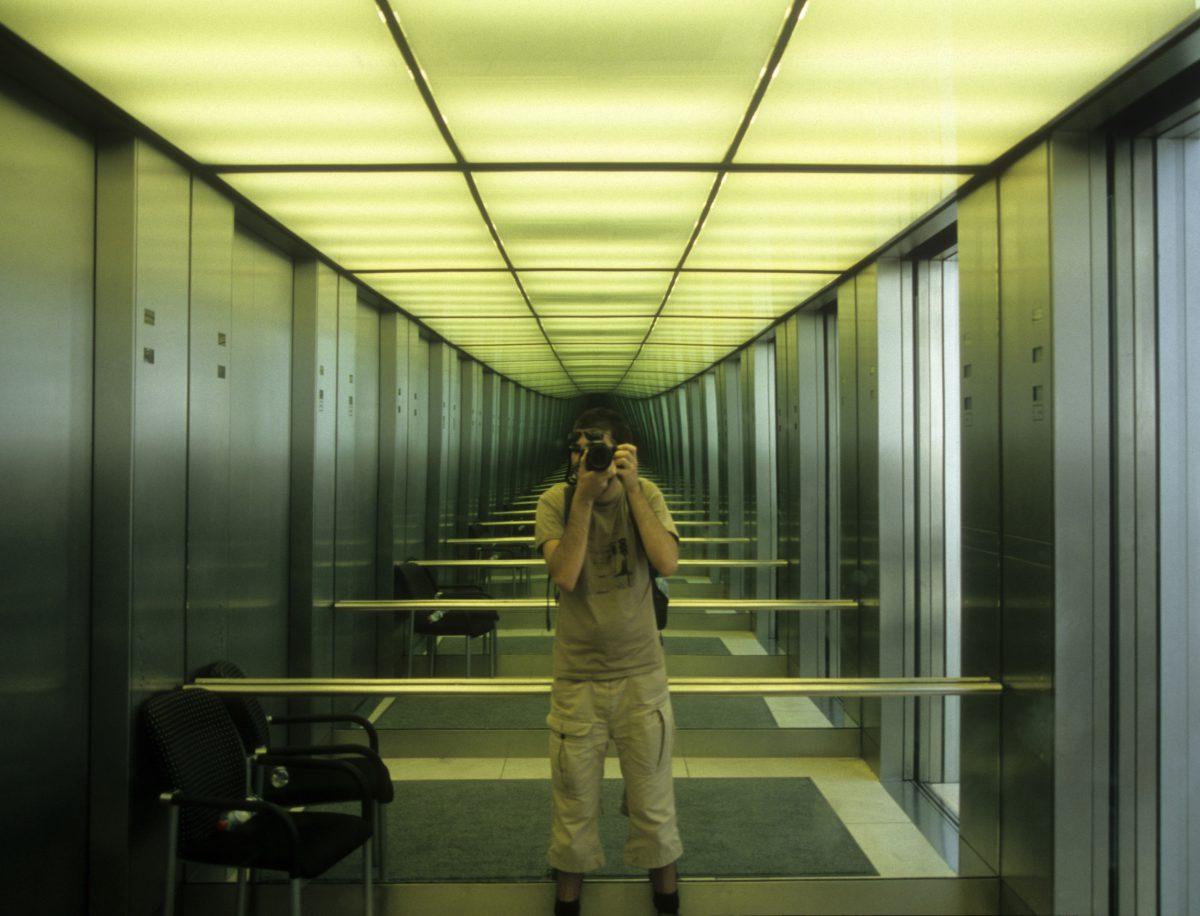 Elevator, male, elevator, reflection