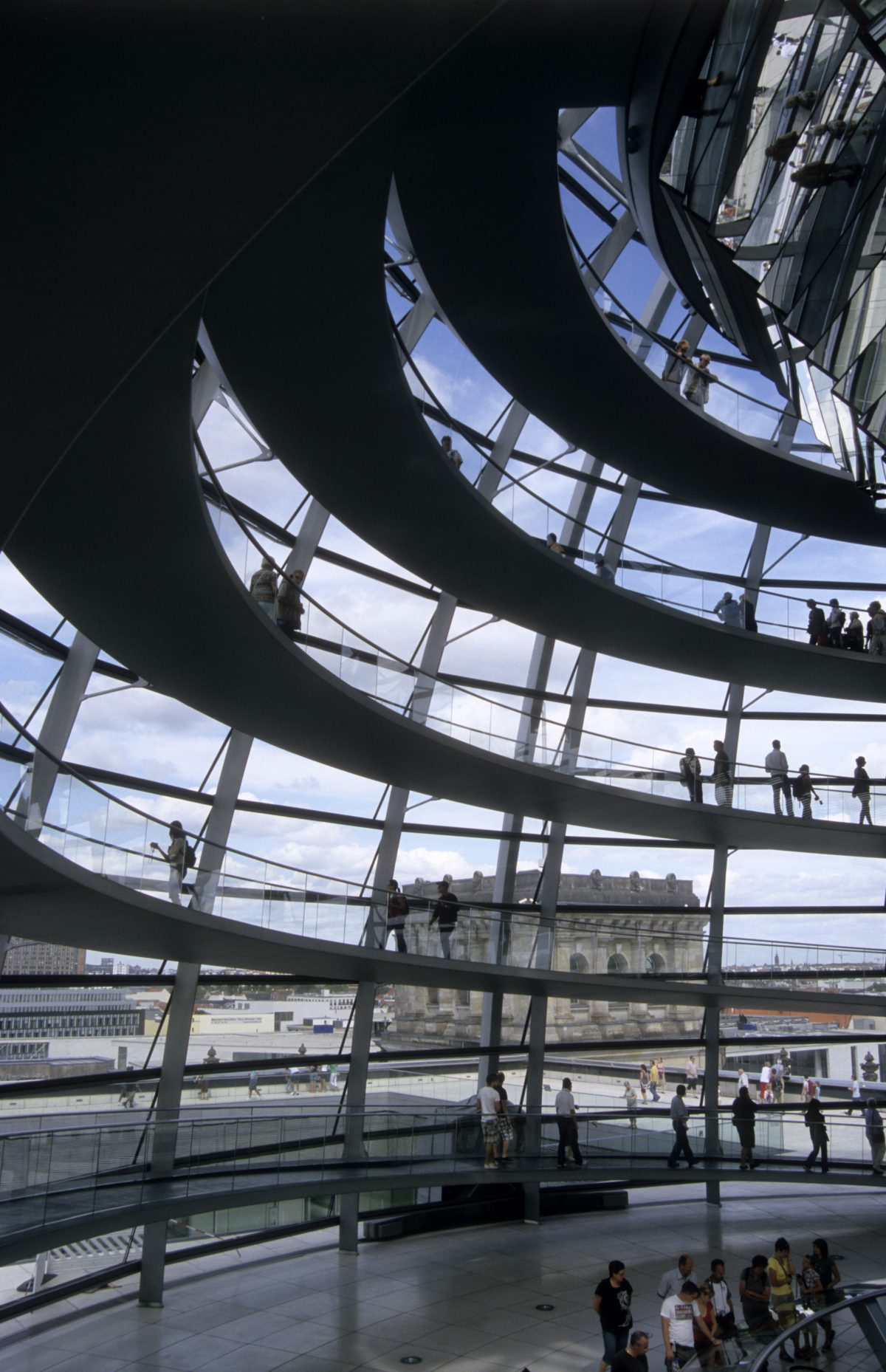 Reichstag dome - At the roof of the parliament, design, people, building