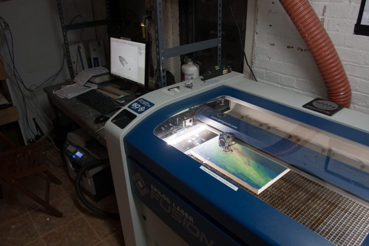 At NYC Resistor, process, laser, studio