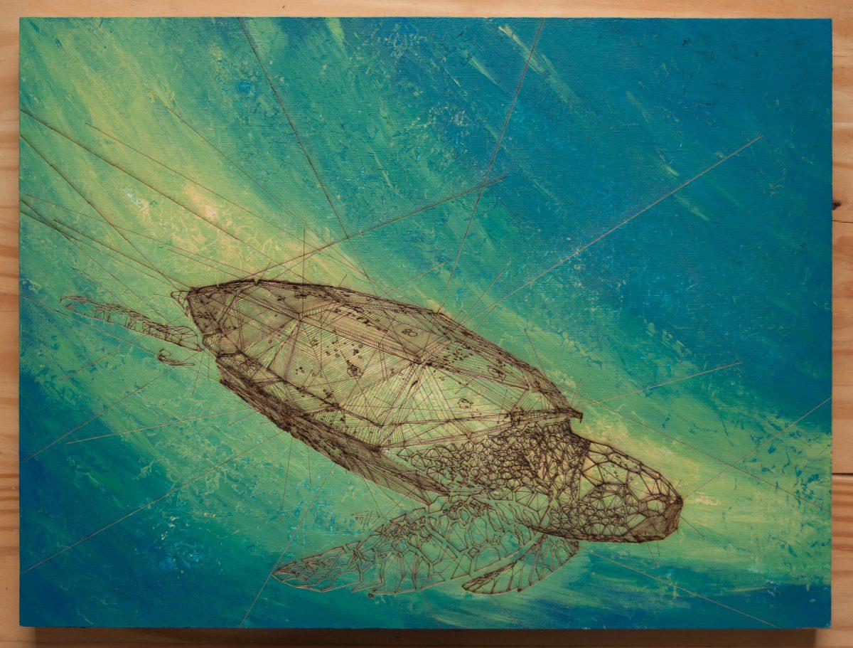 Turtle - 40x30cm laser cut, wooden panel, acrylics, ch3, laser, digital, acrylic, wood