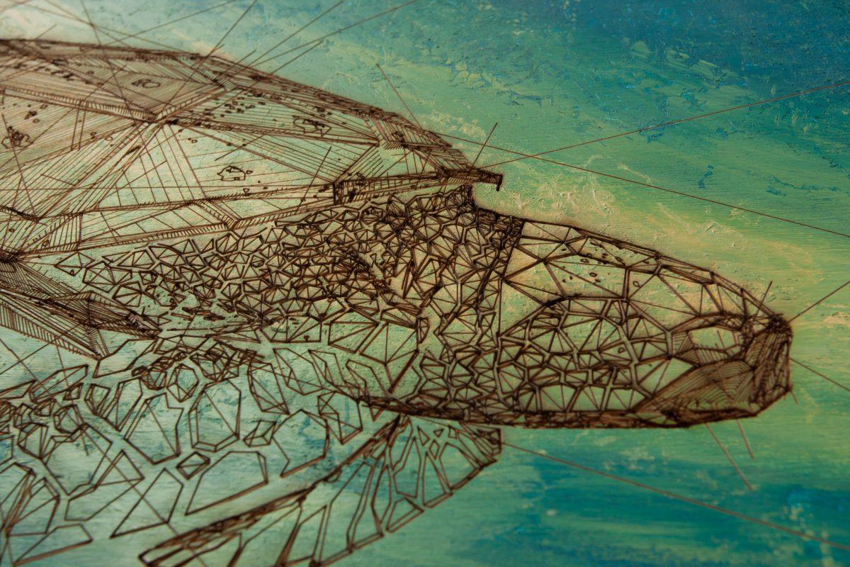 Turtle - detail, ch3, laser, digital, acrylic, wood