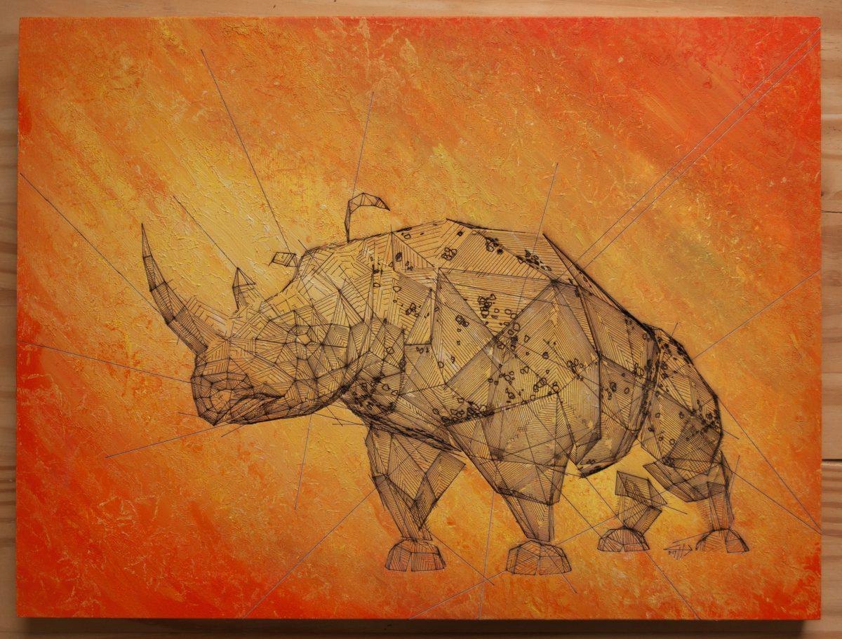 Rhino - 40x30cm laser cut, wooden panel, acrylics, ch3, laser, digital, acrylic, wood