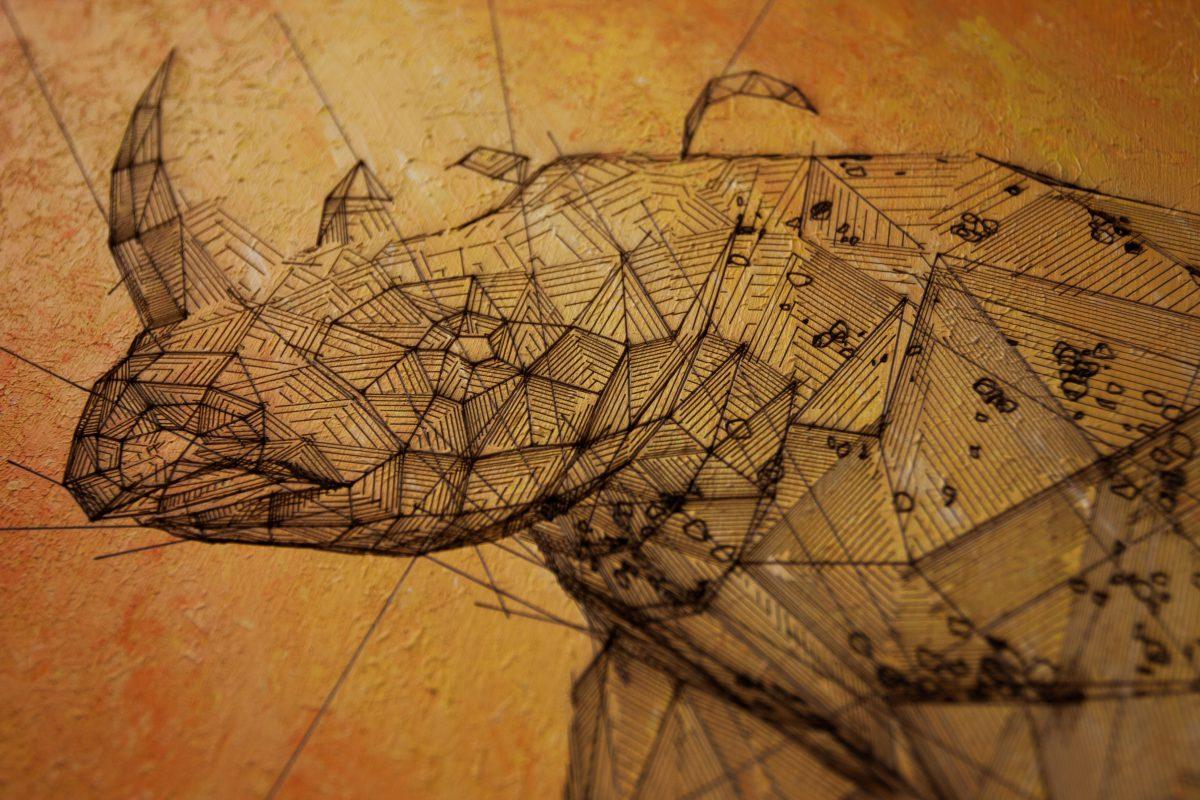 Rhino - detail, ch3, laser, digital, acrylic, wood