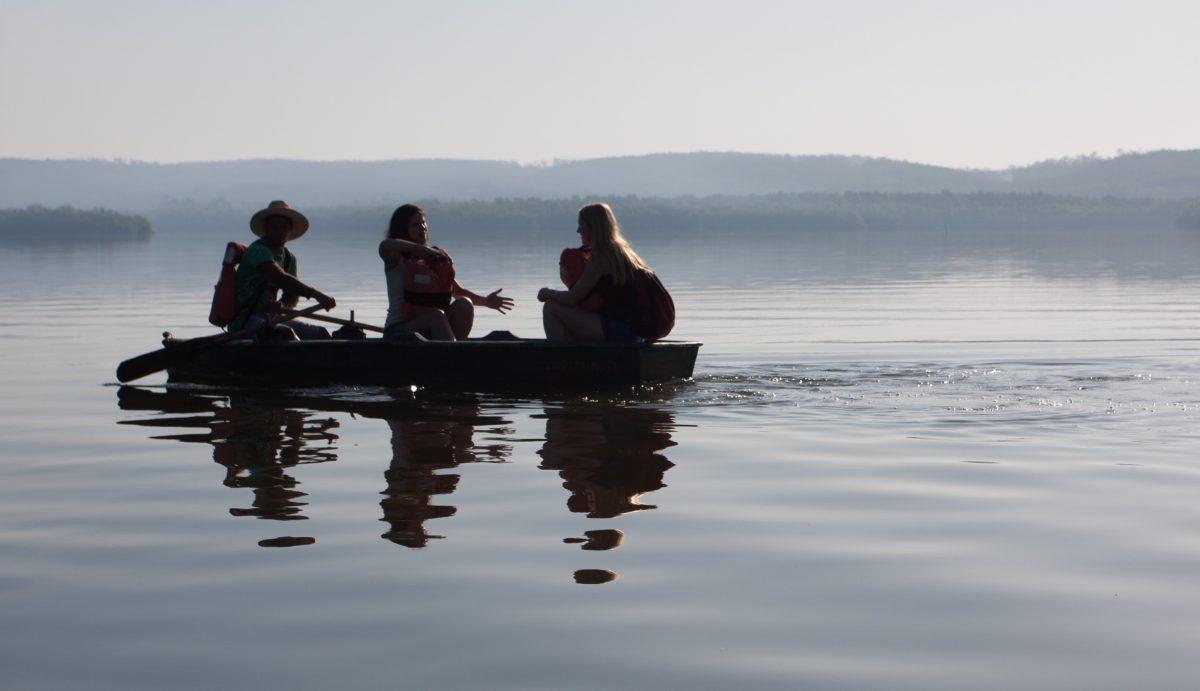 lake, people, reflection, boat
