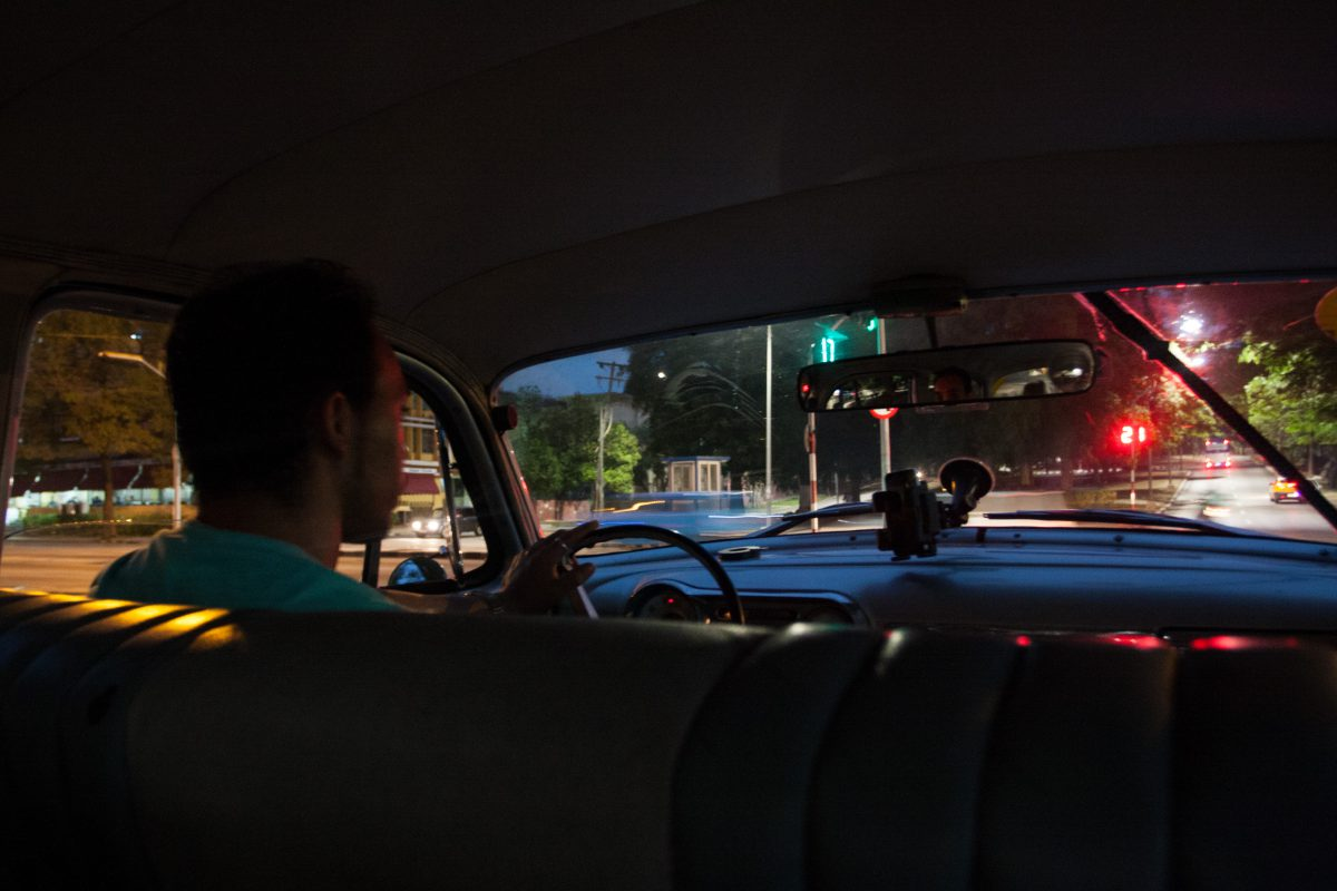 street, car, taxi, vehicle, color, night