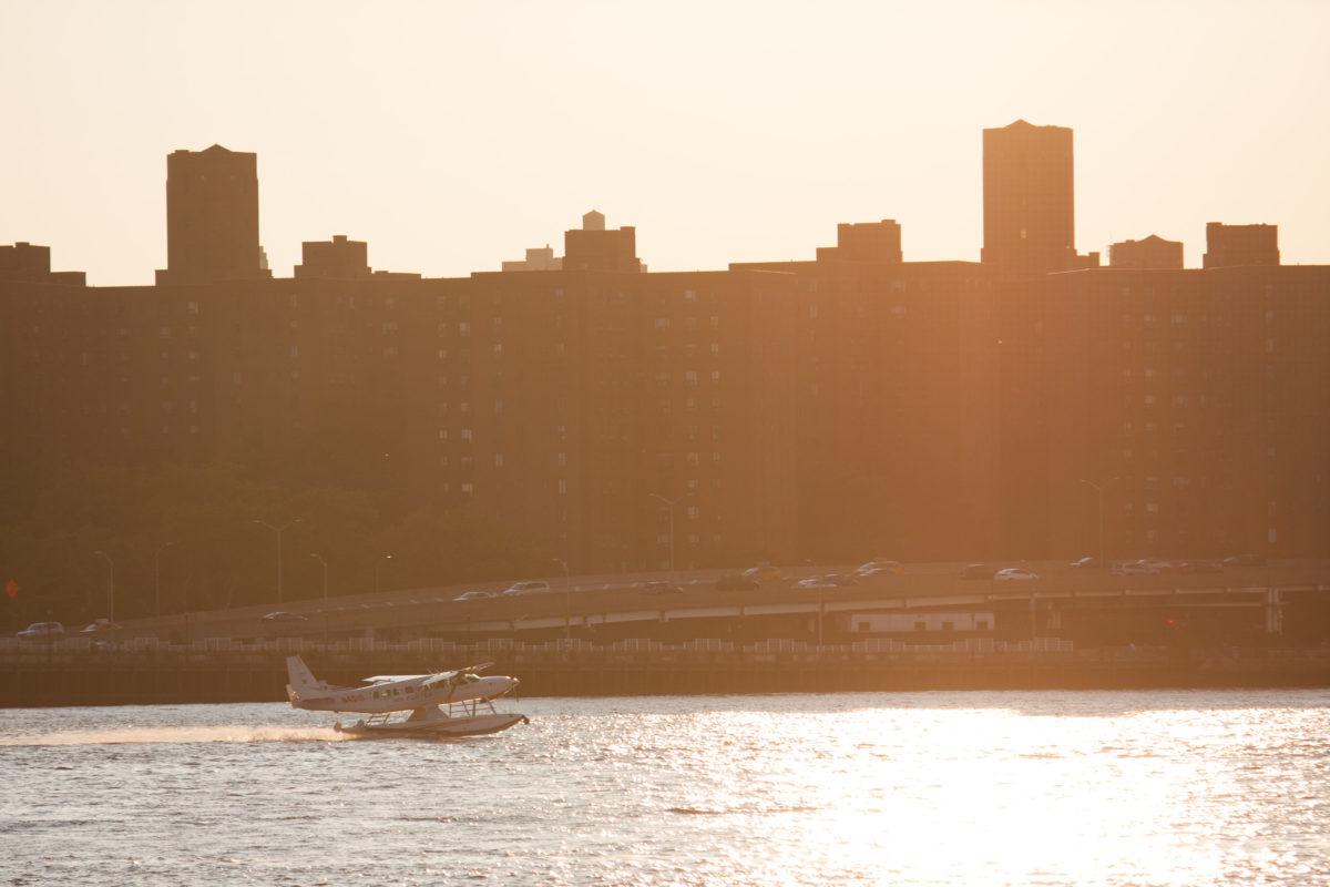 city, building, river, sunset, plane