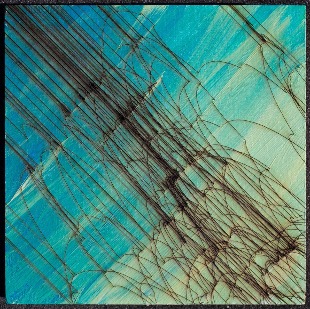 waterfall 02 - 15x15cm laser cut, wooden panel, acrylics, ch3, digital, illustration, wood, acrylic, laser