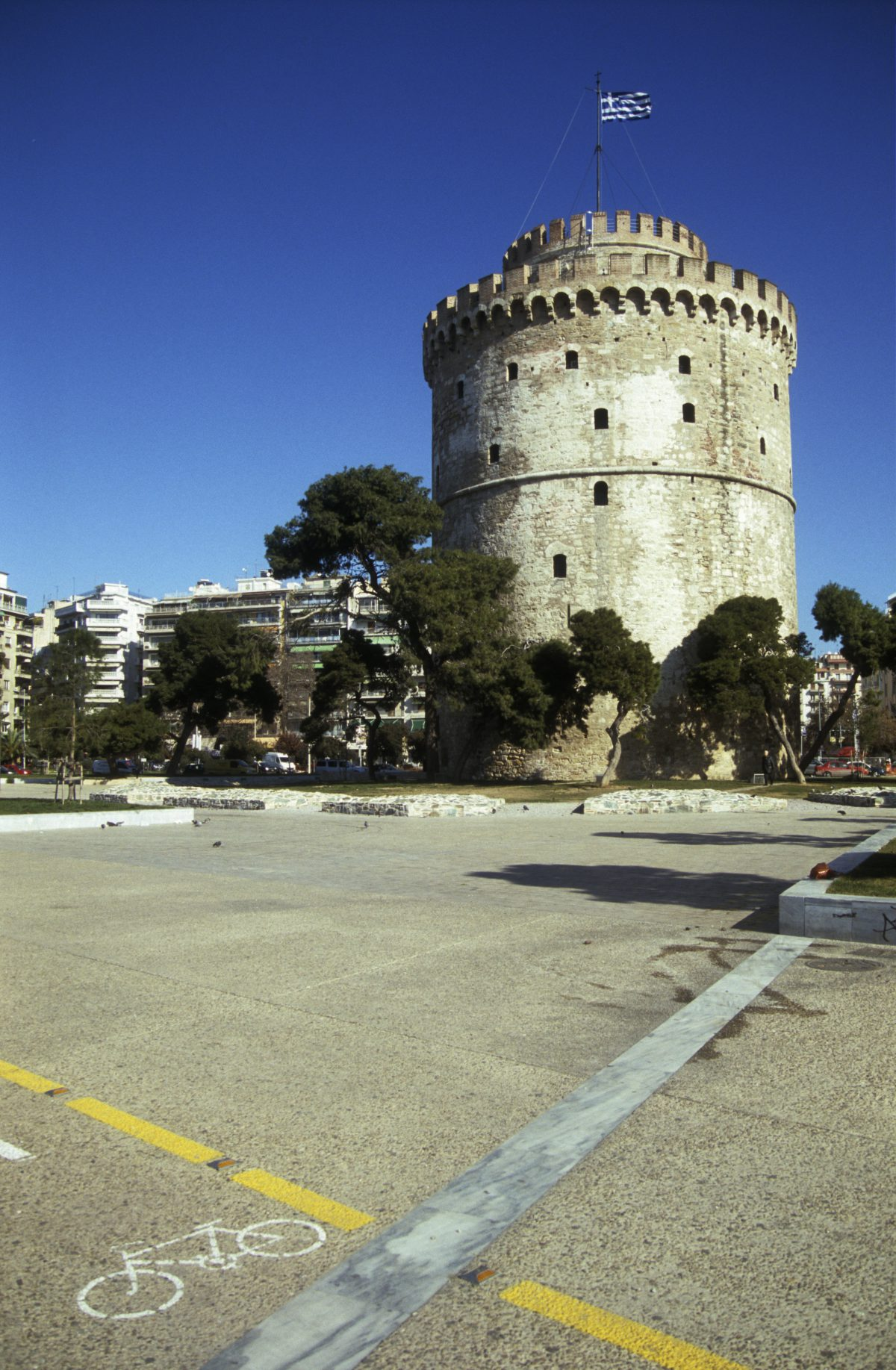 White tower, landmark, city, tower