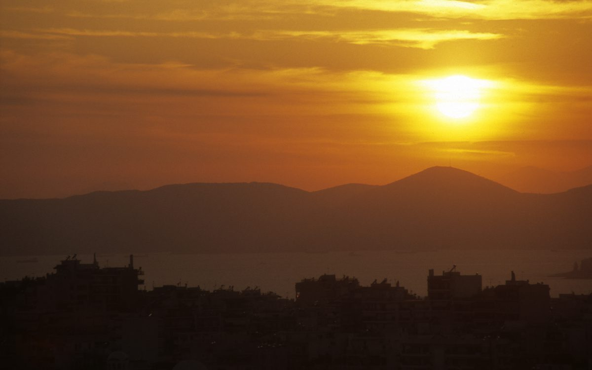 city, sunset, sky, contrast