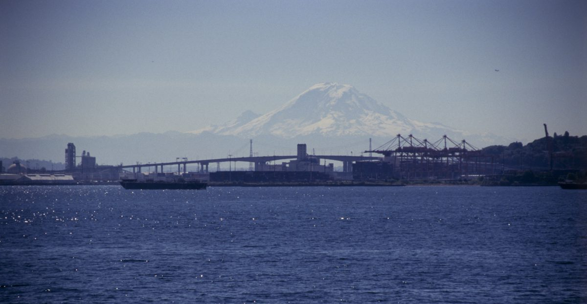 Seattle, sea, mountain, snow, boat