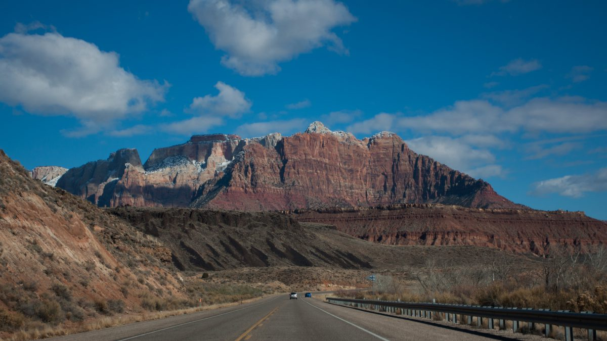 Zion, mountain, road