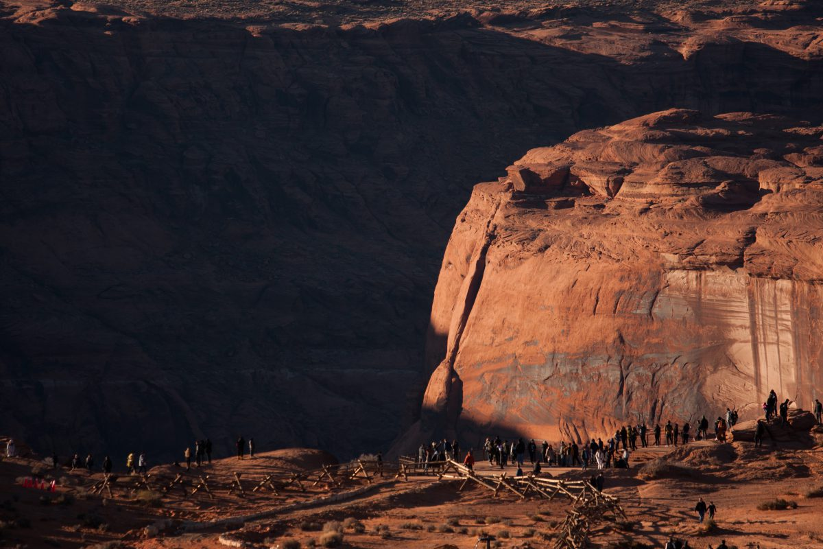 Horseshow Bend, canyon, rock, view, people, landmark