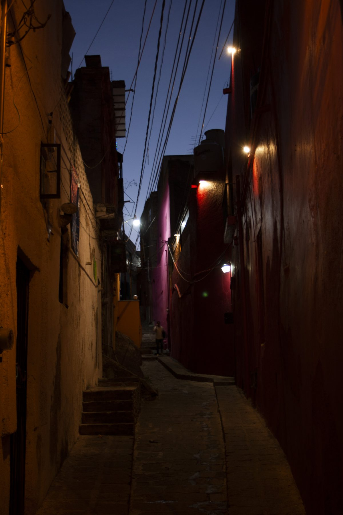 town, alley, light