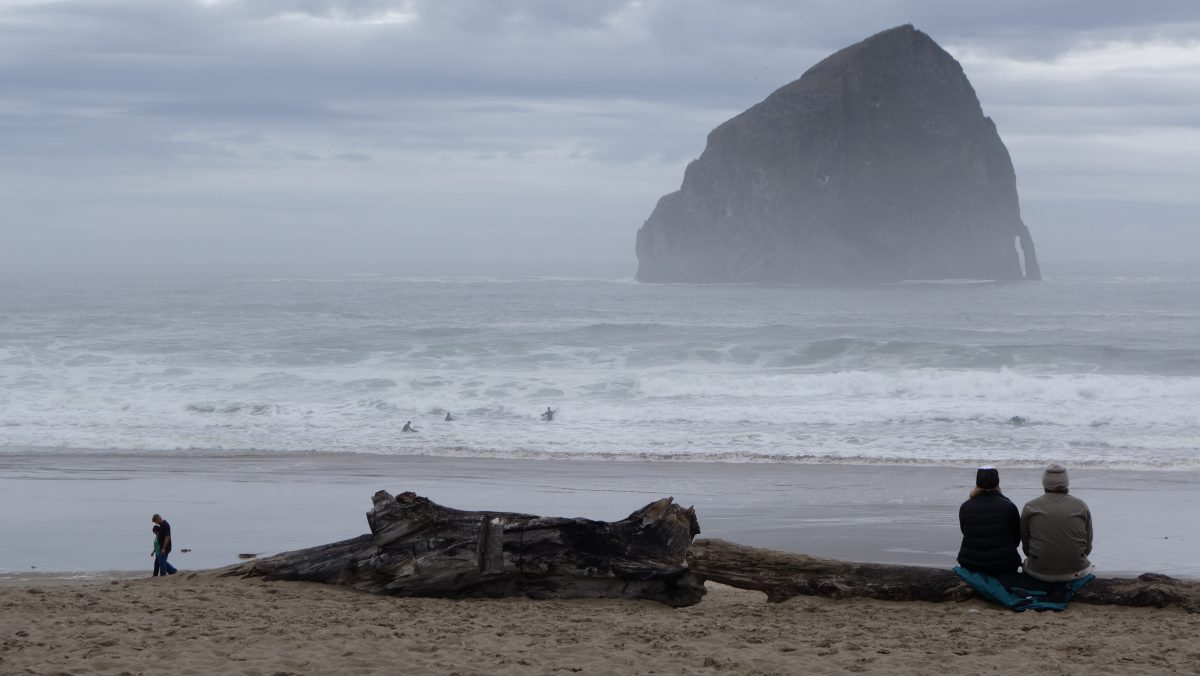 Cycling tour - Vancouver to LA - Surf, wave, wood, beach, rock, sea, male, female, fog, sky, cloud