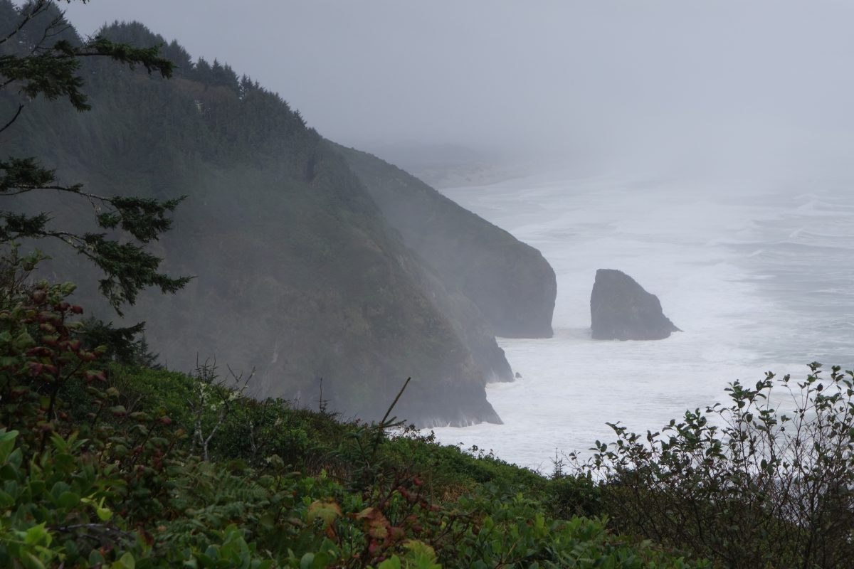 Cycling tour - Vancouver to LA, rock, sea, fog, wave