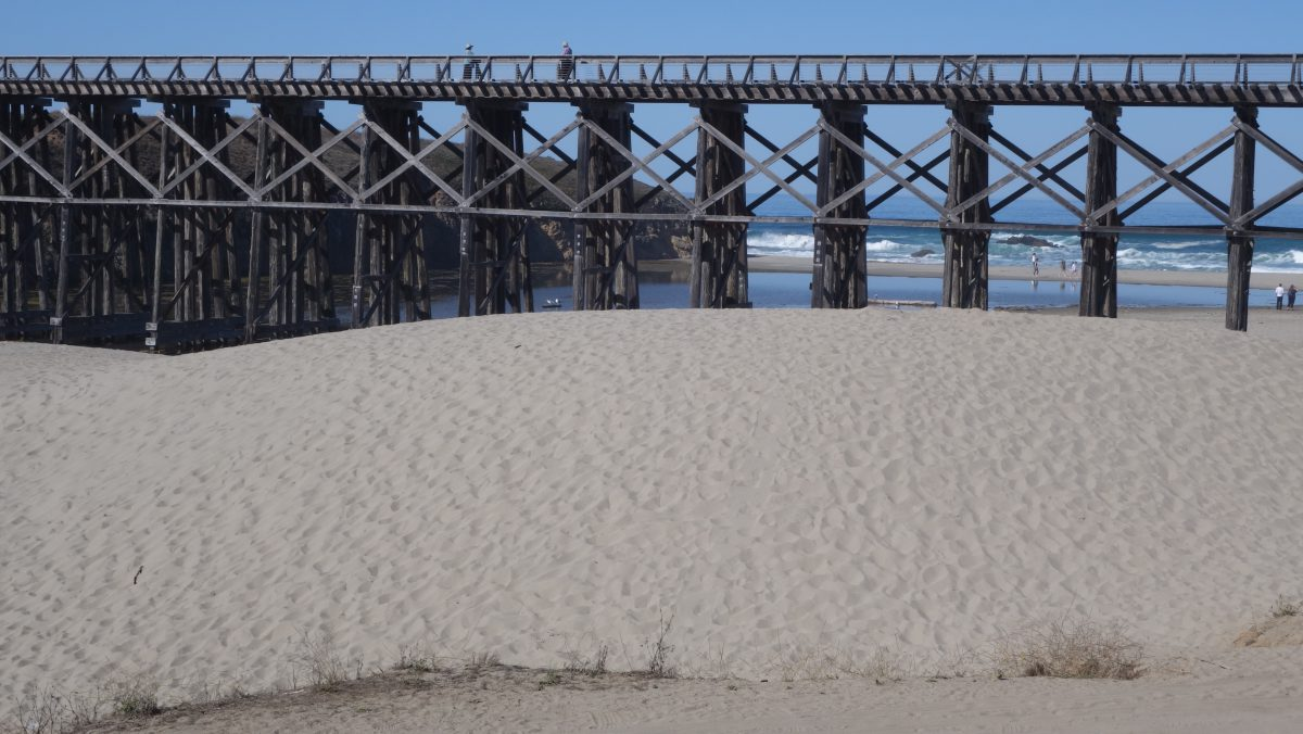 Cycling tour - Vancouver to LA, bridge, sand, train
