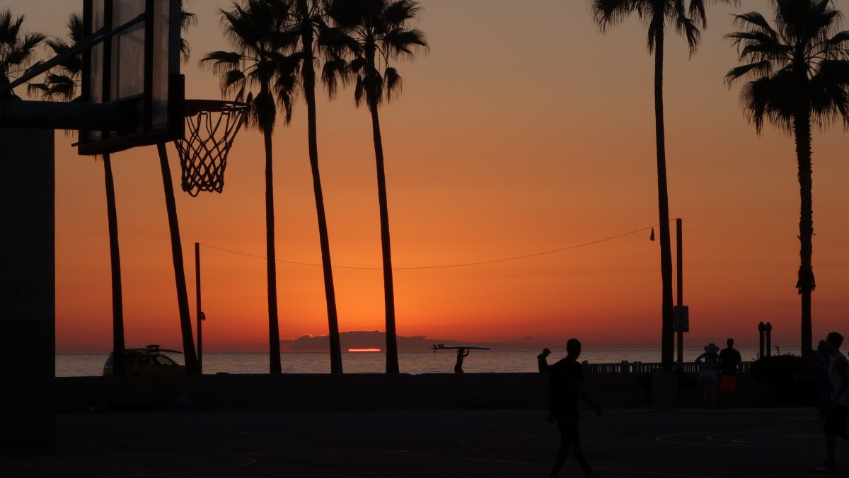 Cycling tour - Vancouver to LA, sunset, basketball, people, color