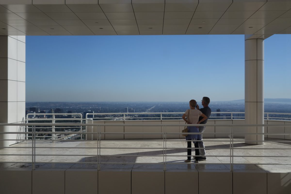 Cycling tour - Vancouver to LA - J. Paul Getty Museum, male, female, view